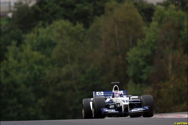 Juan Pablo Montoya, Williams, during Saturday Free Practice. Belgian Grand Prix, Spa-Francorchamps, Belgium, August 31st 2002.