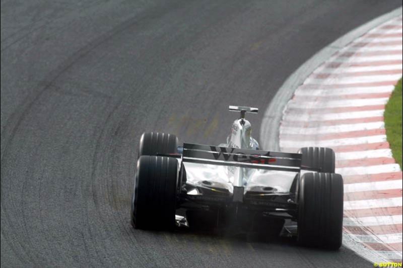 A McLaren during Saturday Free Practice. Belgian Grand Prix, Spa-Francorchamps, Belgium, August 31st 2002.