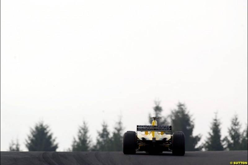 A Jodrdan during Saturday Free Practice. Belgian Grand Prix, Spa-Francorchamps, Belgium, August 31st 2002.