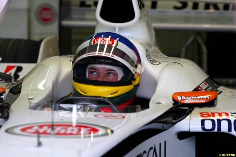 Jacques Villeneuve, British American Racing, during Saturday Free Practice. Belgian Grand Prix, Spa-Francorchamps, Belgium, August 31st 2002.