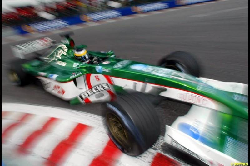 Pedro de la Rosa, Jaguar, during Saturday Free Practice. Belgian Grand Prix, Spa-Francorchamps, Belgium, August 31st 2002.