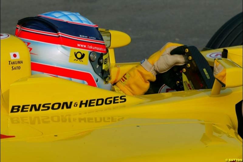 Takuma Sato, Jordan, during Saturday Free Practice. Belgian Grand Prix, Spa-Francorchamps, Belgium, August 31st 2002.