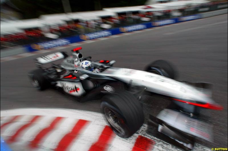 David Coulthard, McLaren, during Saturday Free Practice. Belgian Grand Prix, Spa-Francorchamps, Belgium, August 31st 2002.