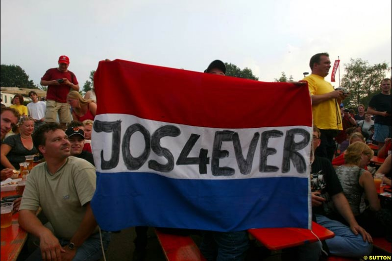 Local fans show their continued support for Jos Verstappen during Saturday Free Practice. Belgian Grand Prix, Spa-Francorchamps, Belgium, August 31st 2002.