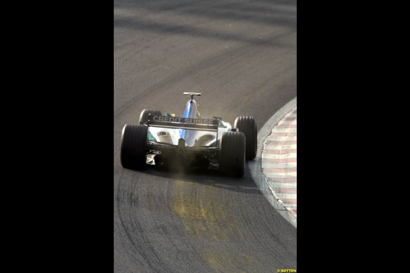 A Sauber takes Eau Rouge during Saturday Free Practice. Belgian Grand Prix, Spa-Francorchamps, Belgium, August 31st 2002.