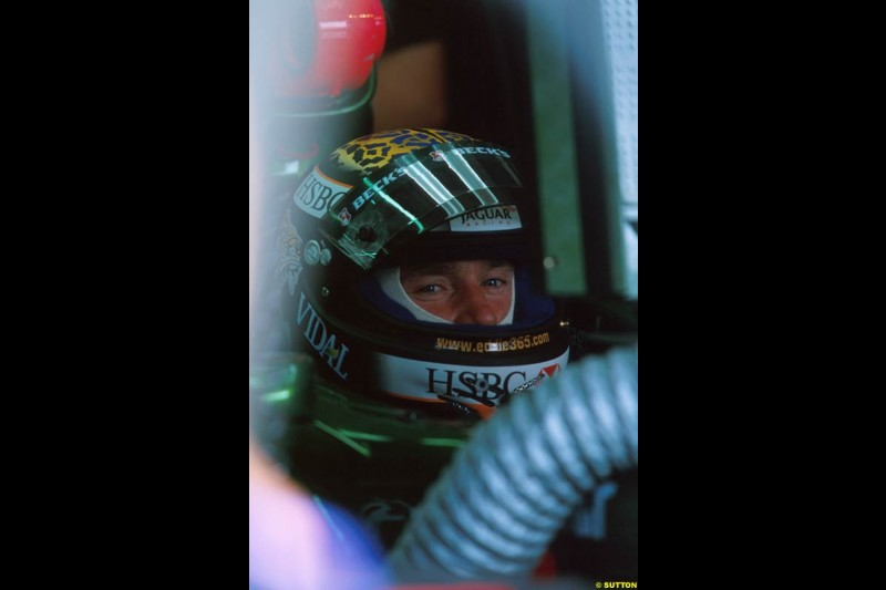 Eddie Irvine, Jaguar. Belgian Grand Prix, Spa-Francorchamps, Belgium, September 1st 2002.