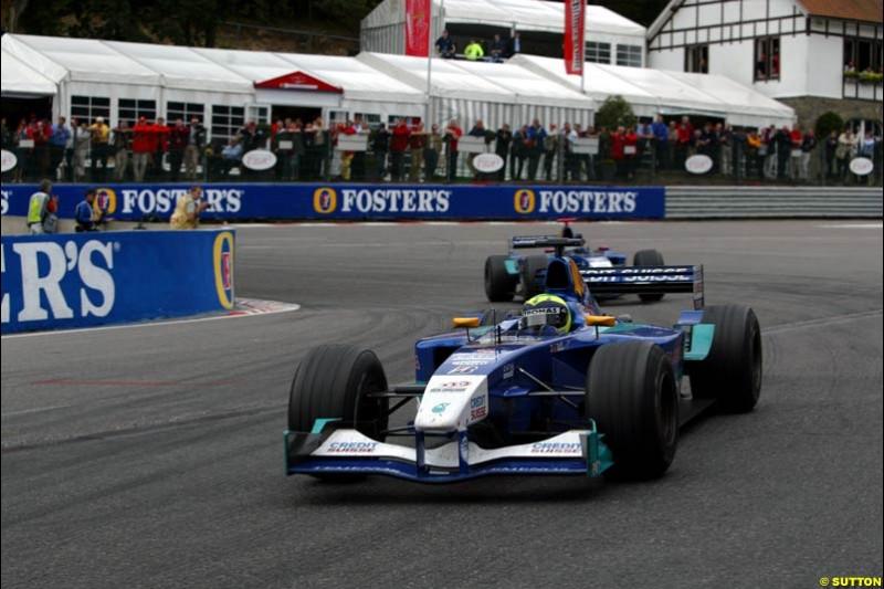 The two Saubers. Belgian Grand Prix, Spa-Francorchamps, Belgium, September 1st 2002.