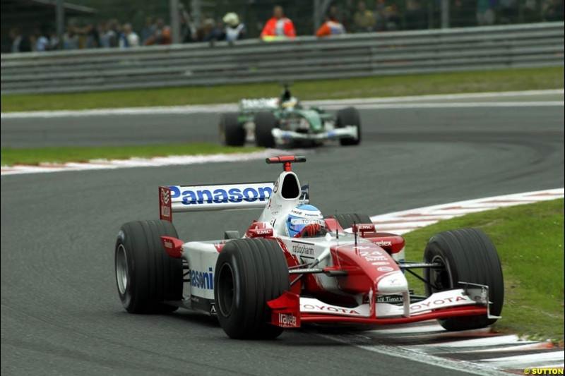 Mika Salo, Toyota, drives what may be his last Belgian Grand Prix. Belgian Grand Prix, Spa-Francorchamps, Belgium, September 1st 2002.