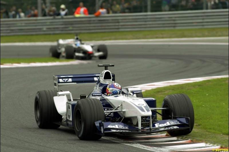 Juan Pablo Montoya, Williams. Belgian Grand Prix, Spa-Francorchamps, Belgium, September 1st 2002.