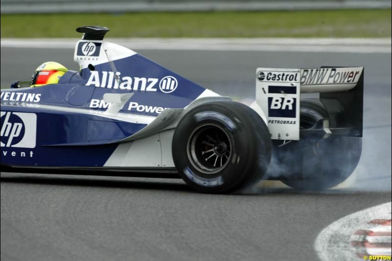 Ralf Schumacher, Williams, spins. Belgian Grand Prix, Spa-Francorchamps, Belgium, September 1st 2002.