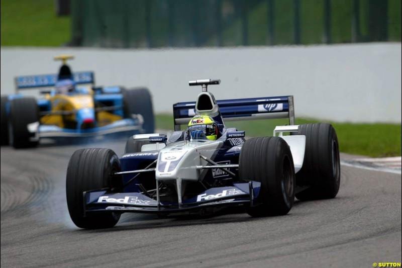 Ralf Schumacher, Williams, locks up. Belgian Grand Prix, Spa-Francorchamps, Belgium, September 1st 2002.