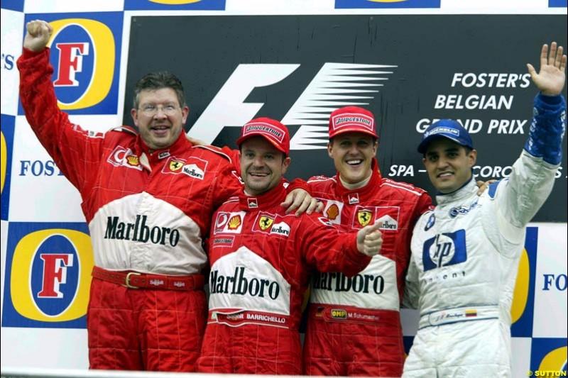 The Podium. Belgian Grand Prix, Spa-Francorchamps, Belgium, September 1st 2002.