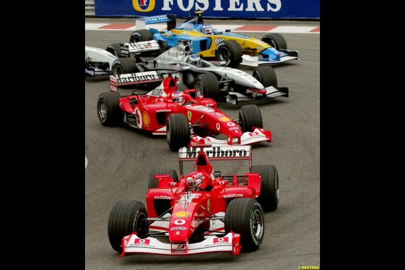 The race start. Belgian Grand Prix, Spa-Francorchamps, Belgium, September 1st 2002.
