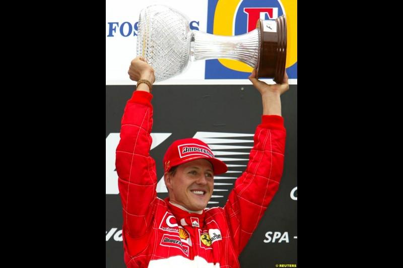 Michael Schumacher celebrates his 10th victory of 2002. Belgian Grand Prix, Spa-Francorchamps, Belgium, September 1st 2002.