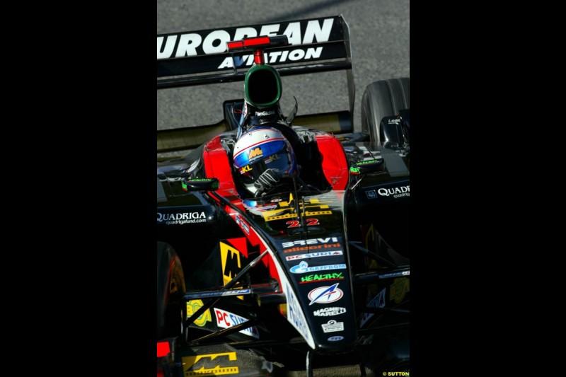 Anthony Davidson, Minardi, during Sunday Warmup. Belgian Grand Prix, Spa-Francorchamps, Belgium, September 1st 2002.