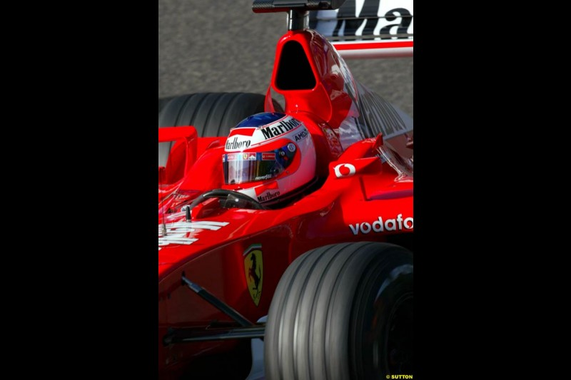 Rubens Barrichello, Ferrari, during Sunday Warmup. Belgian Grand Prix, Spa-Francorchamps, Belgium, September 1st 2002.