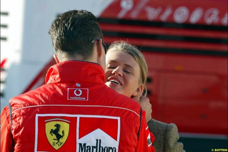 Michael Schumacher, Ferrari, with his wife Corinna. Belgian Grand Prix, Spa-Francorchamps, Belgium, September 1st 2002.