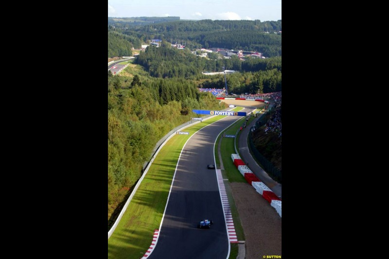 The circuit during Sunday Warmup. Belgian Grand Prix, Spa-Francorchamps, Belgium, September 1st 2002.
