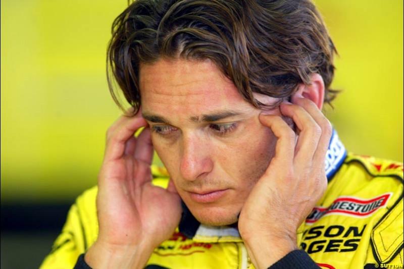 Giancarlo Fisichella, Jordan, during Sunday Warmup. Belgian Grand Prix, Spa-Francorchamps, Belgium, September 1st 2002.