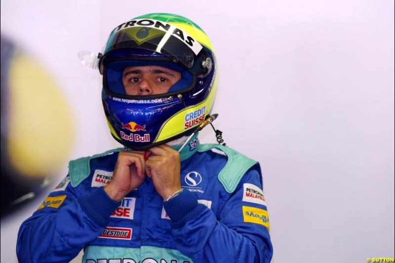 Felipe Massa, Sauber, during Sunday Warmup. Belgian Grand Prix, Spa-Francorchamps, Belgium, September 1st 2002.
