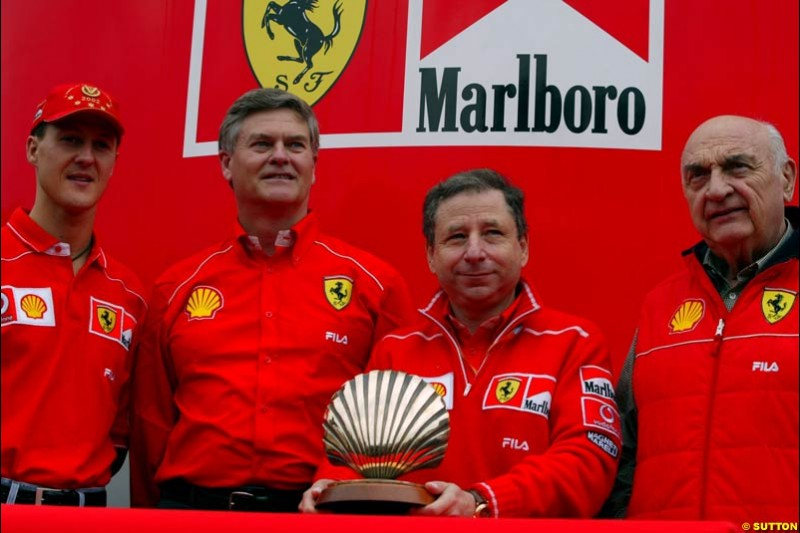 Michael Schumacher and Jean Todt of Ferrari attend a Shell Press Event. Italian Grand Prix, Monza, Italy. September 13th 2002.