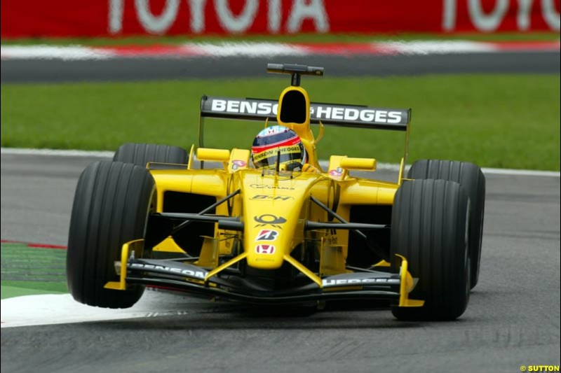 Takuma Sato, Jordan, during Friday Free Practice. Italian Grand Prix, Monza, Italy. September 13th 2002.