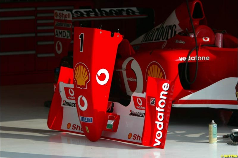 A Ferrari nose cone during Friday Free Practice. Italian Grand Prix, Monza, Italy. September 13th 2002.