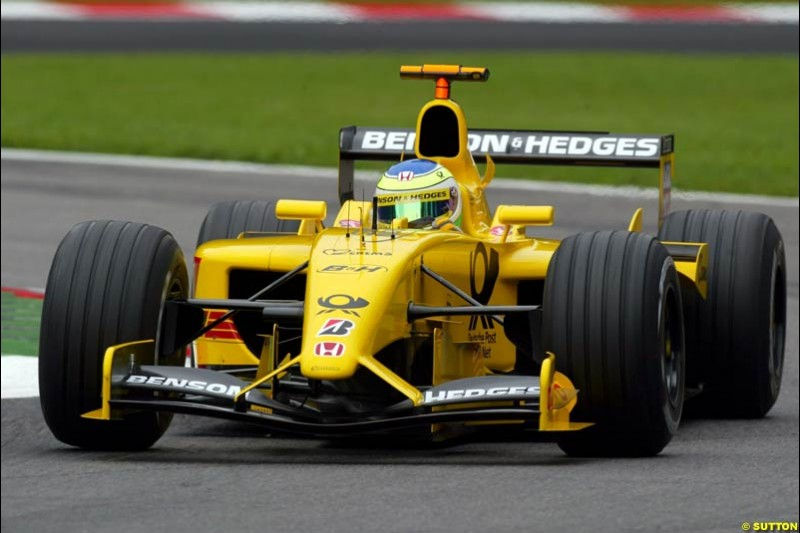 Giancarlo Fisichella, Jordan, during Friday Free Practice. Italian Grand Prix, Monza, Italy. September 13th 2002.
