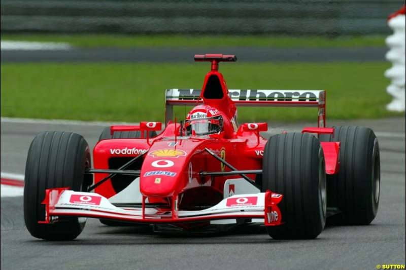 Michael Schumacher, Ferrari, during Friday Free Practice. Italian Grand Prix, Monza, Italy. September 13th 2002.