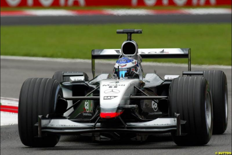 Kimi Raikkonen, McLaren, during Friday Free Practice. Italian Grand Prix, Monza, Italy. September 13th 2002.