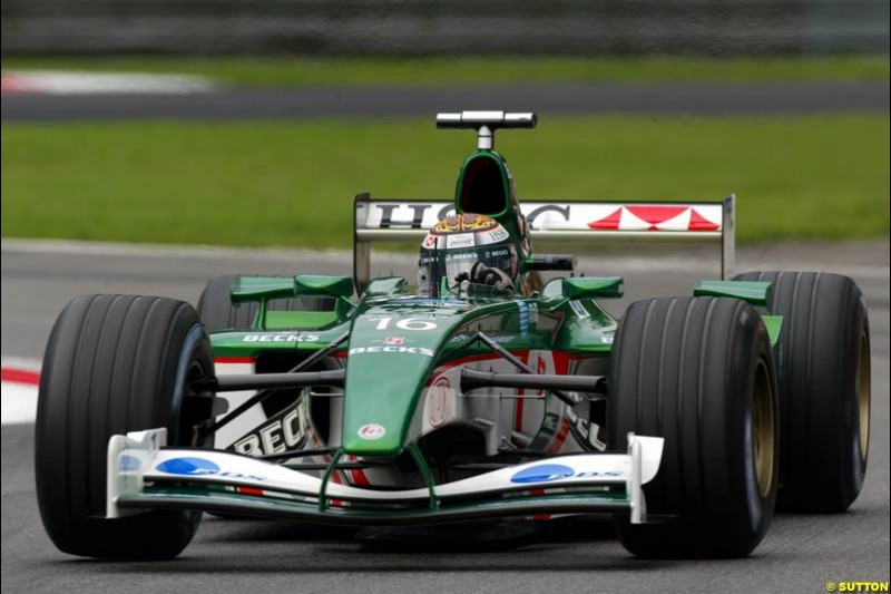 Eddie Irvine, Jaguar, during Friday Free Practice. Italian Grand Prix, Monza, Italy. September 13th 2002.