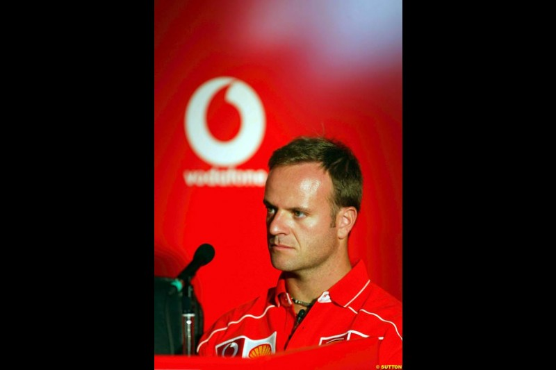 Rubens Barrichello, Ferrari, during the Vodafone Press Conference. Italian Grand Prix, Monza, Italy. September 12th 2002.