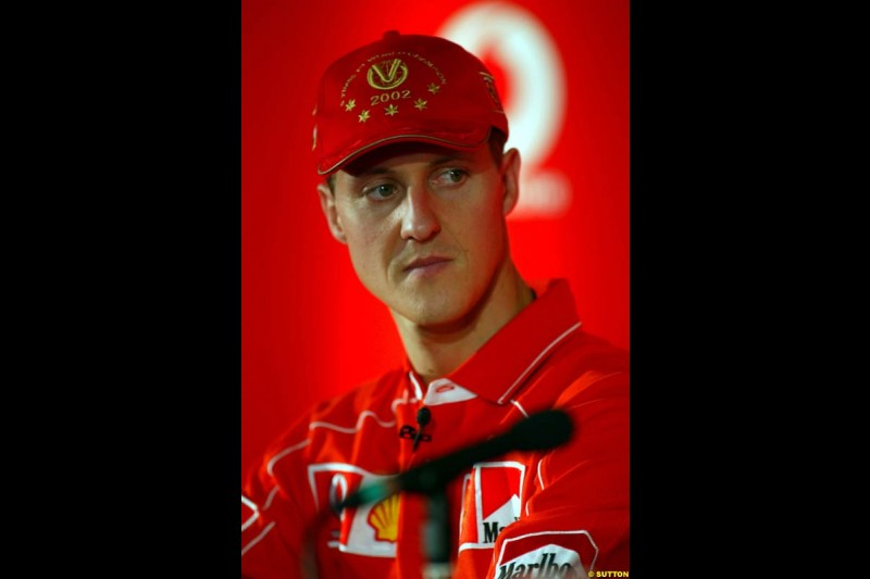 Michael Schumacher, Ferrari, during the Voaphone Press Conference. Italian Grand Prix, Monza, Italy. September 12th 2002.