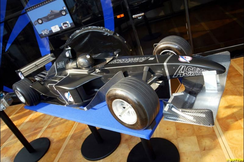 A model of the proposed 2004 Asiatech Formula 1 car. Italian Grand Prix, Monza, Italy. September 14th 2002.
