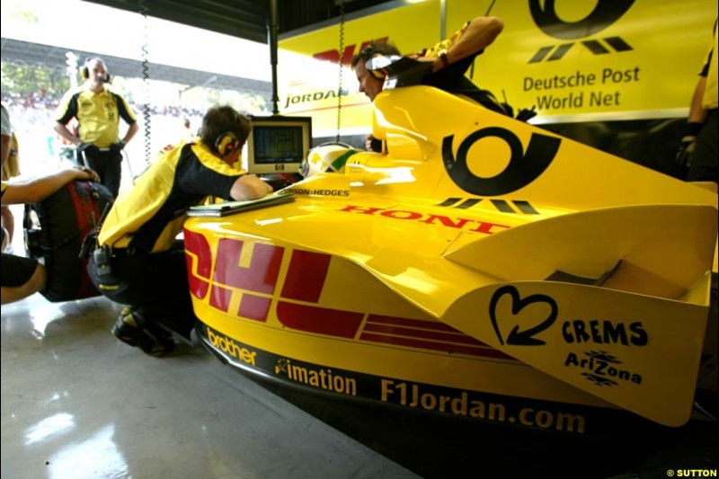 Giancarlo Fisichella, Jordan, during Qualifying. Italian Grand Prix, Monza, Italy. September 14th 2002.