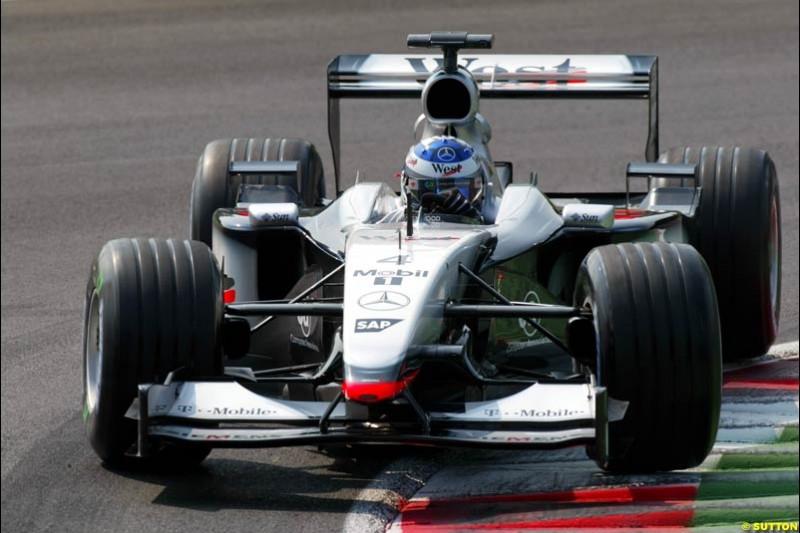 Kimi Raikkonen, McLaren, during Qualifying. Italian Grand Prix, Monza, Italy. September 14th 2002.