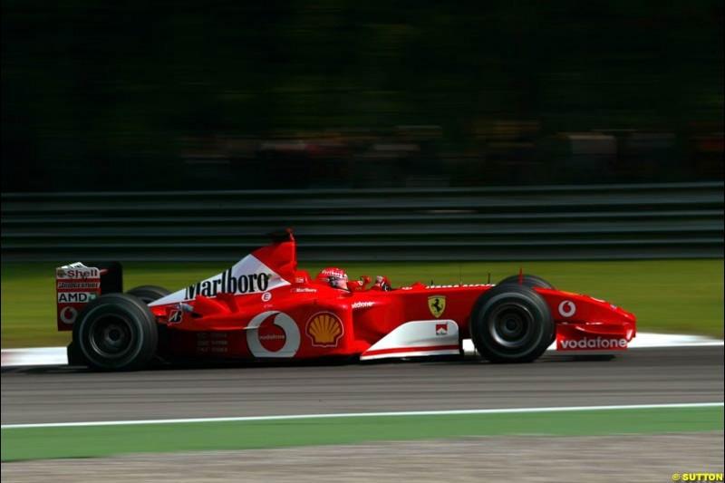Michael Schumacher, Ferrari, during Qualifying. Italian Grand Prix, Monza, Italy. September 14th 2002.