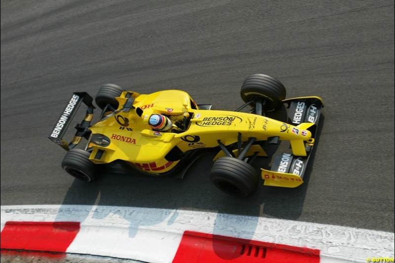 Takuma Sato, Jordan, during Qualifying. Italian Grand Prix, Monza, Italy. September 14th 2002.