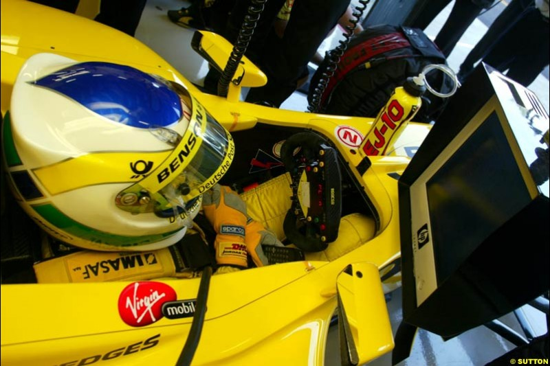 Giancarlo Fisichella, Jodran, sits in the cockpit during Saturday Free Practice. Italian Grand Prix, Monza, Italy. September 14th 2002.