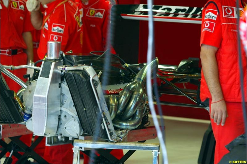 The rear end of the Ferrari F12002 during Saturday Free Practice. Italian Grand Prix, Monza, Italy. September 14th 2002.