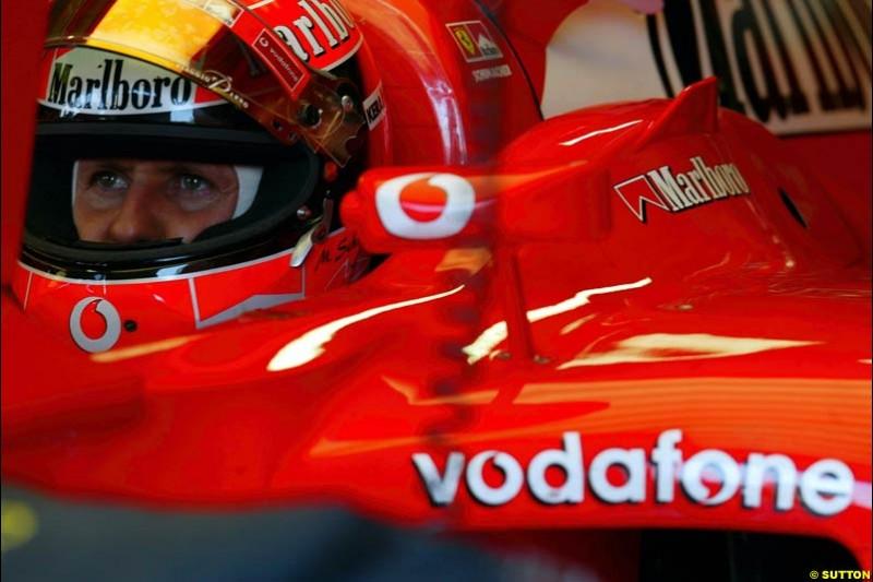 Michael Schumacher, Ferrri, during Saturday Free Practice. Italian Grand Prix, Monza, Italy. September 14th 2002.