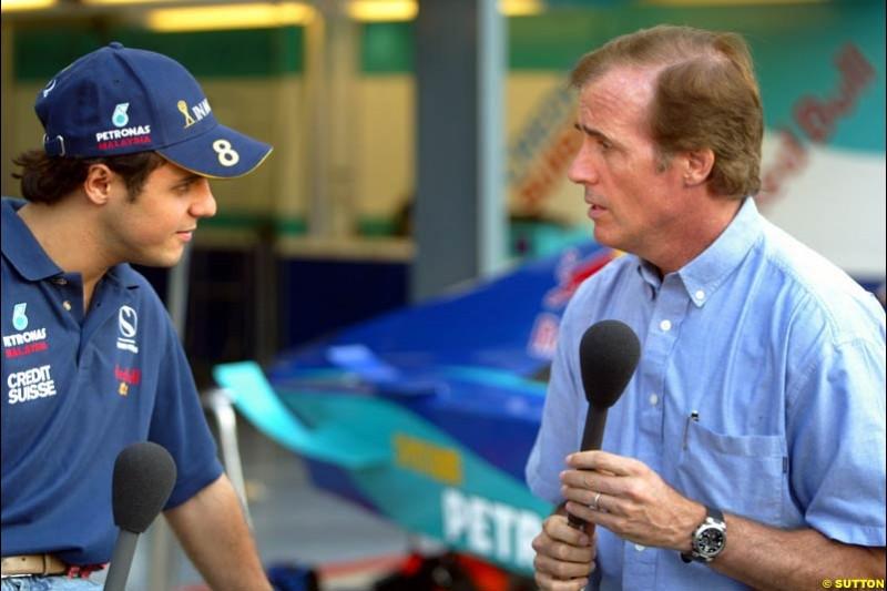 Danny Sullivan interviews Felipe Massa, Sauber, during Saturday Free Practice. Italian Grand Prix, Monza, Italy. September 14th 2002.