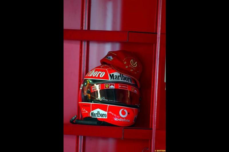 A Michael Schumacher helmet. Italian Grand Prix, Monza, Italy. September 14th 2002.