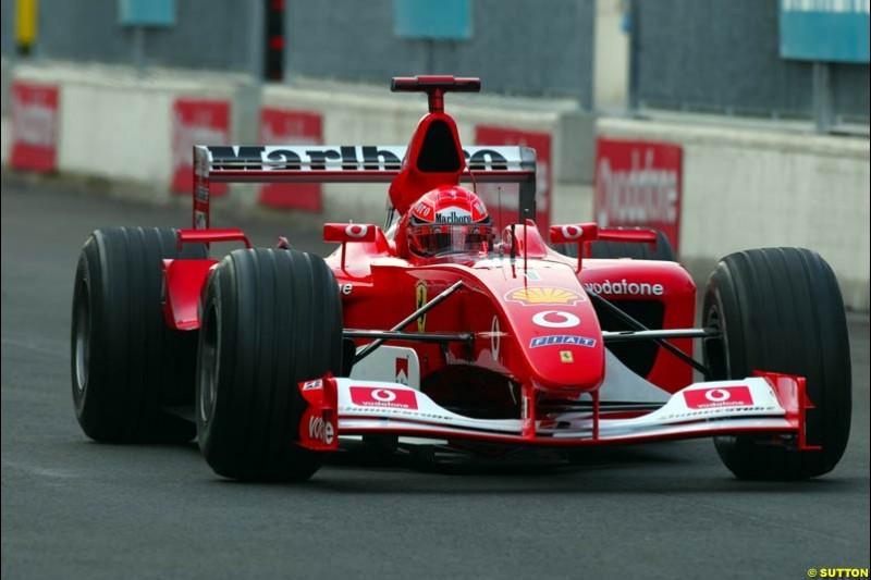 Michael Schumacher, Ferrari, during Saturday Free Practice. Italian Grand Prix, Monza, Italy. September 14th 2002.