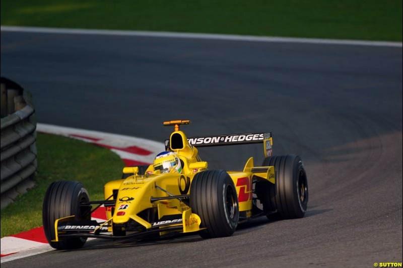 Giancarlo Fisichella, Jordan, during Saturday Free Practice. Italian Grand Prix, Monza, Italy. September 14th 2002.