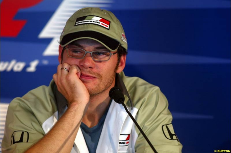 Jacques Villeneuve at the FIA Friday's Press Conference. United States GP, Indianapolis, September 27th 2002.