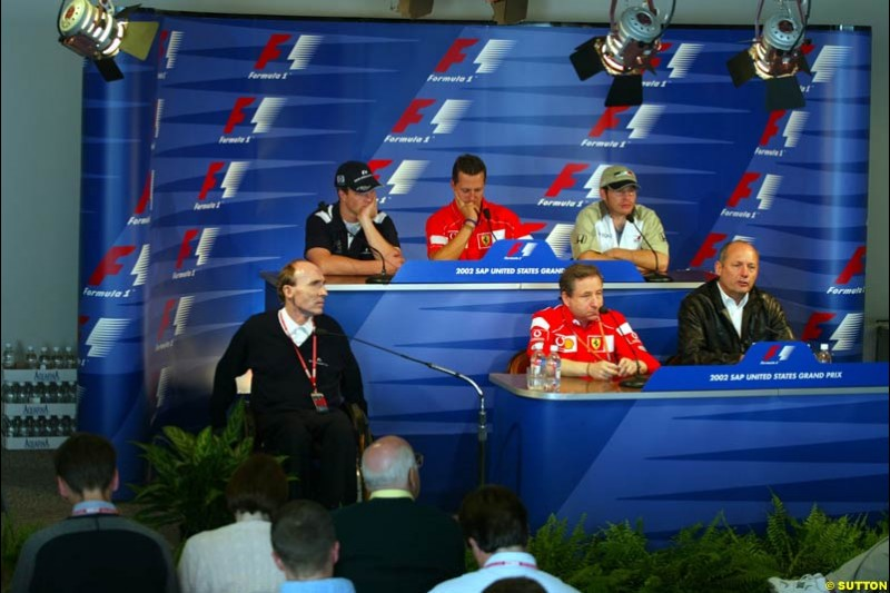 FIA Friday's Press Conference. United States GP, Indianapolis, September 27th 2002.