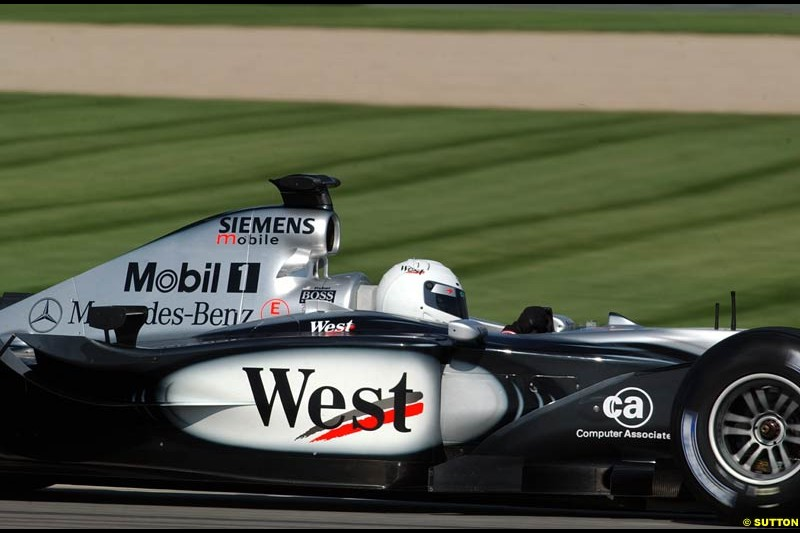 Sarah Fischer in the McLaren. Friday Free Practice, United States GP, Indianapolis, September 27th 2002.