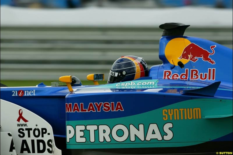 Heinz Harald Frentzen, Sauber, Friday Free Practice, United States GP, Indianapolis, September 27th 2002.