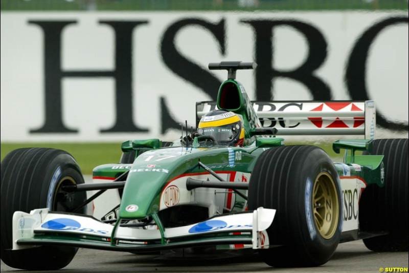 Pedro de la Rosa, Jaguar, Friday Free Practice, United States GP, Indianapolis, September 27th 2002.